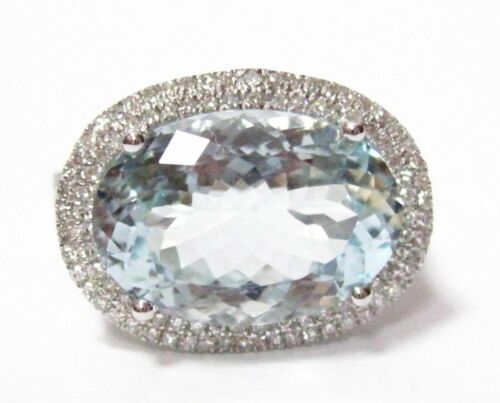 7.62 TCW Oval Aquamarine Beryl & Diamond Accents Solitaire Ring Size 7 14k Gold