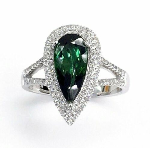 1.99 Carats t.w. Diamond and Green Tourmaline Double Halo Ring 14K Gold New