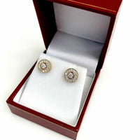 0.55 Carats t.w. Round Diamond Millgrain Halo Earrings 14K Pink Rose Gold New
