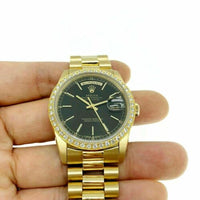 Rolex Day Date 18K President 36mm Watch 18348 U Serial Factory Diamond Bezel