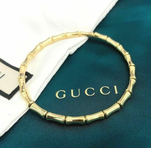 GUCCI Italian Made 18K Yellow Gold Bamboo Stretch Bracelet $1695 Retail Size 18