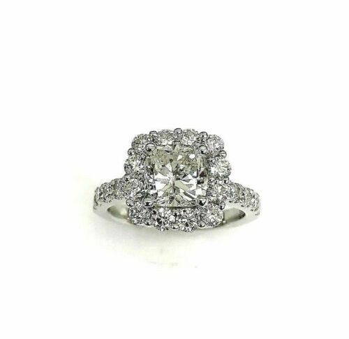 2.87 Carats Cushion and Round Cut Diamond Halo Engagement Ring 1.69 Carat Center