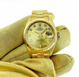 Rolex 26MM FactoryDiamond Lady President 18 Karat Yellow Gold Watch Ref # 69178