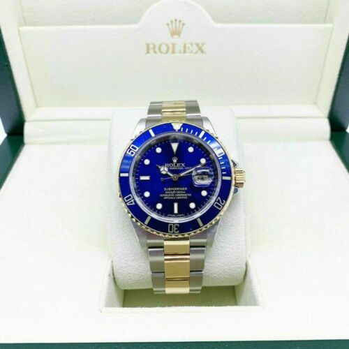 Rolex Blue Submariner Date 18K Yellow Gold & Steel Watch Ref 16613 M Serial