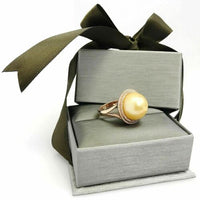 15.65 ct Pearl Ring with Double Halo Diamond in 14K Gold (White/Rose)