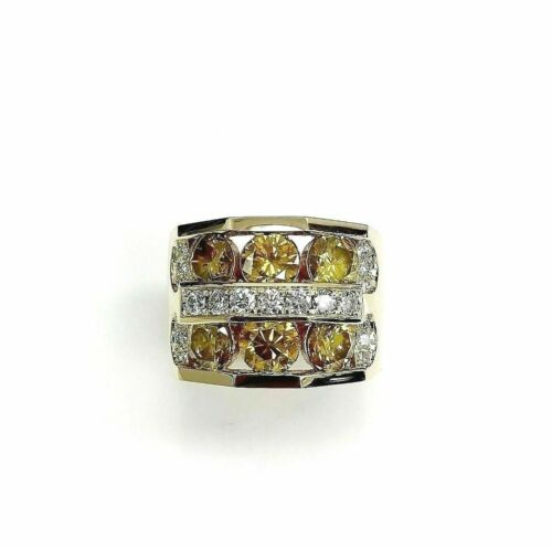 5.35 Carats Mens Diamond Ring 14K Yellow Gold 21.2 Grams Fancy Yellow Diamonds