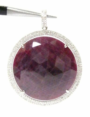 35.31 TCW Rose Cut Roval Rough Red Ruby & Diamond Circle-Shape Pendant 14k Gold