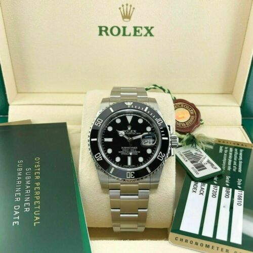Rolex Ceramic Black Submariner Date Stainless Steel Watch Ref 116610LN Box Card