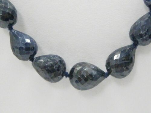 245 TCW Natural Pear Facet Blue Sapphire Strand String Necklace 18k Gold 19""