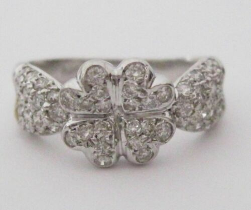 .40 TCW Flower Cluster Round Diamond Cocktail Ring Size 6 H SI1 14k White Gold