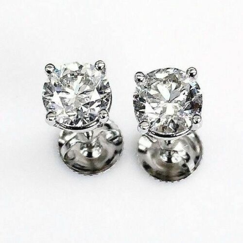 100% Natural Colorless & Shiny 1.43 Carats t.w. Diamond Stud Earrings 14KWG New