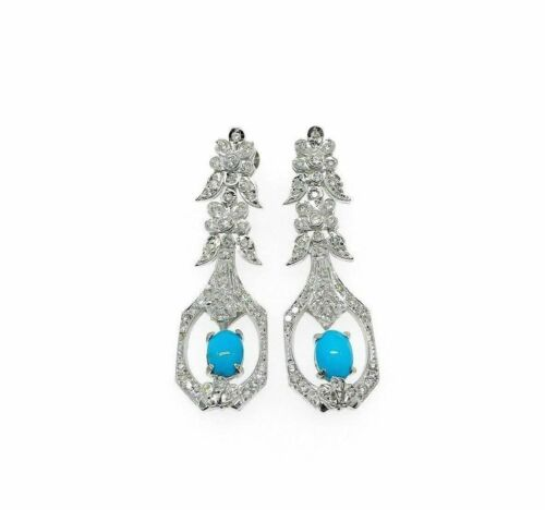 Turquoise and Diamond Dangle Drop Earrings in 14K White Gold 1.15 Carat Diamond