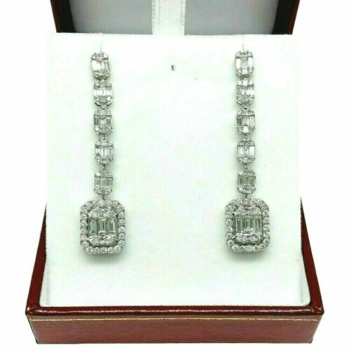 3.15 Carats Round and Baguette Diamond Halo Dangle Earrings 18K 1.85 Inch Drop