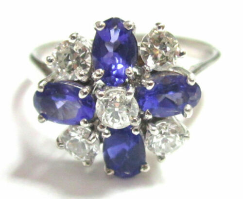 FINE TANZANITES & DIAMONDS STONES FLOWER RING 18K WHITE GOLD