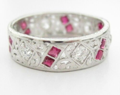 1.50 TCW Art-Deco Style Natural Round Red Ruby & Diamonds Ring Size 6 PLATINUM