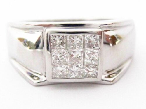 Handmade .80 carats Men's Princess Cut Diamond Ring Size 9 G SI1 14k White Gold