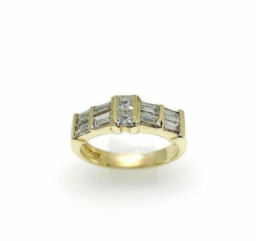 0.90 Carat t.w. Baguette and Princess Diamond Anniversary Ring 14K Yellow Gold