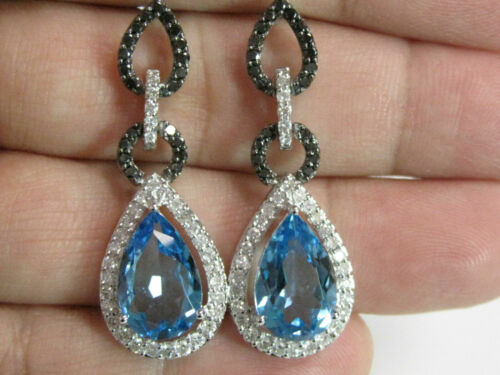 10.40 TCW Pear Blue Topaz w/ Black & White Diamond Accents G VS2 14k White Gold