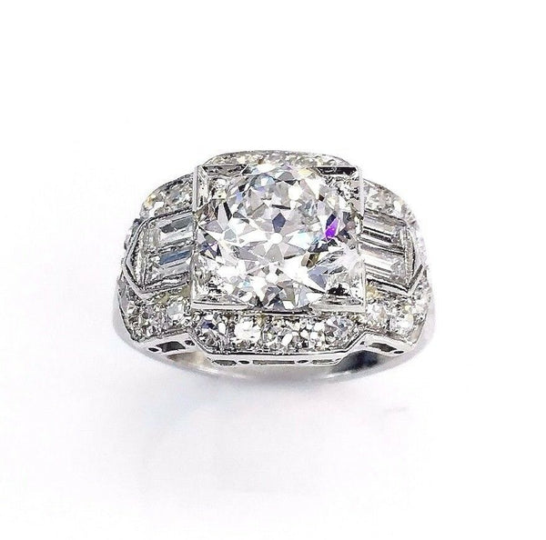 3.78 Carats Antique Art Deco Wedding Diamond Ring 2.45 E SI1 GIA Center Old Euro
