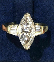 1.88 Carats t.w. Marquise and Baguette Cut Engagement Ring 14K Yellow Gold