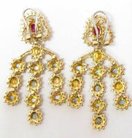 11.09 TCW Round Diamonds & Sapphires Chandelier Earrings H SI-1 18k Yellow Gold