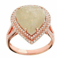 6.89Ct Pear Shape Rustic/Raw Green Diamond Cocktail Ring Size 6.5 14k Rose Gold