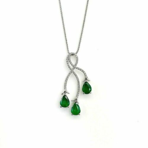 3.08 Carats t.w. Pear Emerald & Diamond Pendant 1.50 x 0.70 Inch 18K White Gold