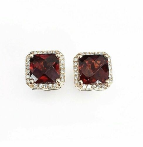 2.75 Carats t.w. Garnet and Diamond Halo Stud Earrings 14K Rose Gold New