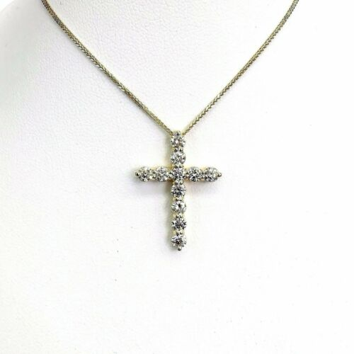 1.60 Carats t.w. Custom Made Diamond Cross Pendant 14K Gold 1.00 x 0.75Inch