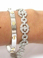 3.65 TCW Round Brilliant Cut Diamond Flower Cluster Tennis Bracelet 14k WGold
