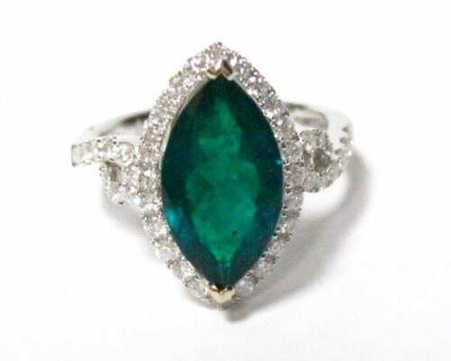 3.35 TCW Marquise Columbian Emerald&Diamond Cocktail Ring Sz 6.5 18k White Gold