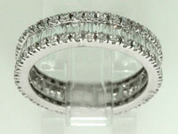 1.98 TCW Baguette & Round Diamonds Eternity Band G VS2 Size 6.5 18k White Gold