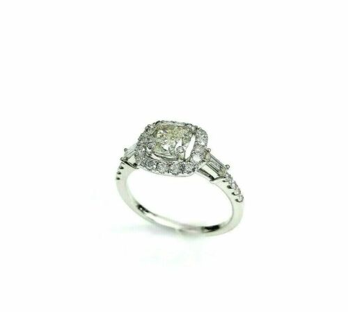 1.68 Carats Cushion and Round Cut Diamond Halo Engagement Ring 1.02 Carat Center