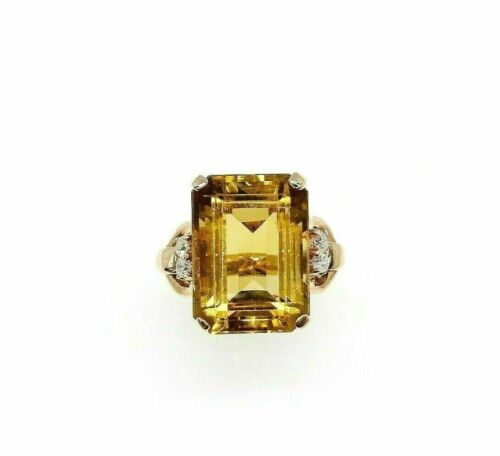 15.90 Carats t.w. Diamond and Citrine Ring 14K Rose Gold 15.70 Carats Center