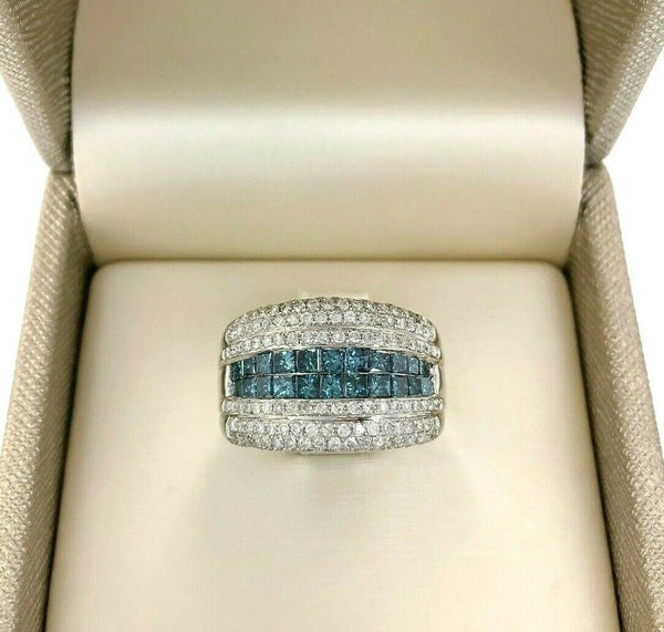 2.34 Carats t.w. Blue and White Diamond Invisible Set and Pave Anniversary Ring