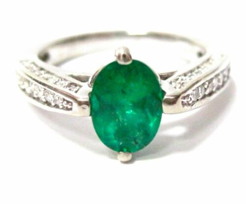 1.54 TCW Columbian Oval Emerald & Diamond Cocktail Ring Size 7 14k White Gold