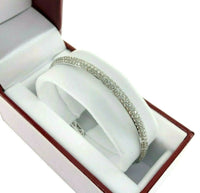 6.32 Carats t.w. Diamond Eternity 3 Row Pave Set Bangle 14 Karat White Gold