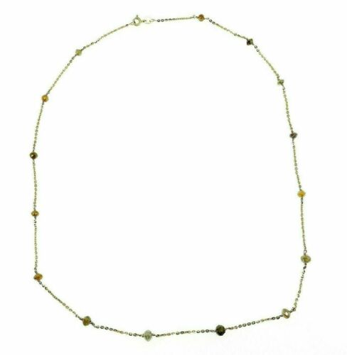 Hand Made 8.70 Carats Natural Rough Diamond By The Yard Necklace 14k Yellow Gold