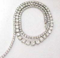 12.55 TCW Round Brilliant Cut Diamond Riviera Necklace F-G VS2 18k White Gold