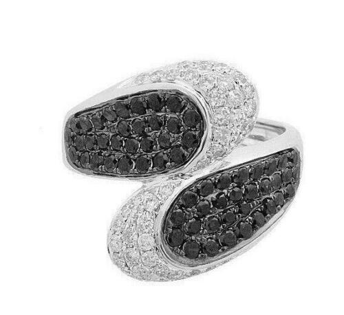 1.66Ct Round Cut White & Black Diamonds 2 Way Cluster Cocktail Ring 14k WGold