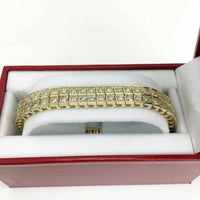 9.75 Carats Double Row Round Brilliant Cut Diamond Tennis Bracelet 14K Gold 29GR