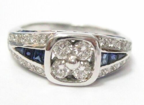 1.80 TCW Natural Blue Sapphire & Diamond Accents Ring Size 8 18kt White Gold