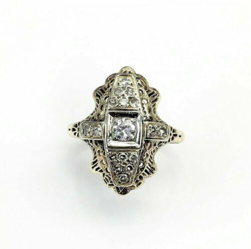 Vintage 1970's 0.51 Carats t.w. Shield Diamond Ring 14K Yellow Gold 0.80 In Long
