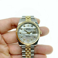 Rolex 36MM Datejust Watch 18KGold Stainless 116233 Factory Diamond MotherPearl