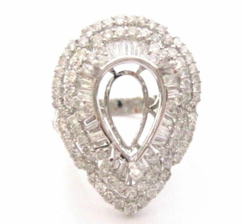 HUGE Pear Shape Semi-Mounting Round and Baguette Diamond Engagement Ring 18k W/G