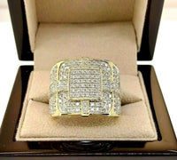 Iced Out 3.05 Carat t.w. Men's Diamond Pave Set Ring 14K Gold 0.80 Inch Width