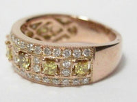 FINE 1.35 TCW NATURAL YELLOW PRINCESS CUT DIAMOND SINGLE ROW BAND !4kt RG