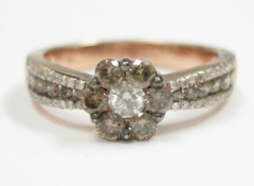 1.10 TCW Natural Round Brilliants Champagne Flower Diamond Ring 14k Rose Gold