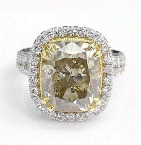6.97 TCW Natural Radiant Cut Fancy Yellow Diamond Ring Size 6.5 18k Gold