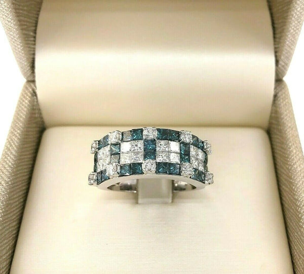 3.72 Carats t.w. Blue and White Princess Diamond Invisible Set Anniversary Ring